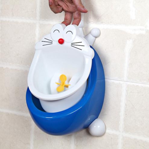 Niños Aseo Orinal Para Niños Gato Azul penico párr menino Infantil Soporte montado en La Pared Inodoro Potty Urinario Urinarios
