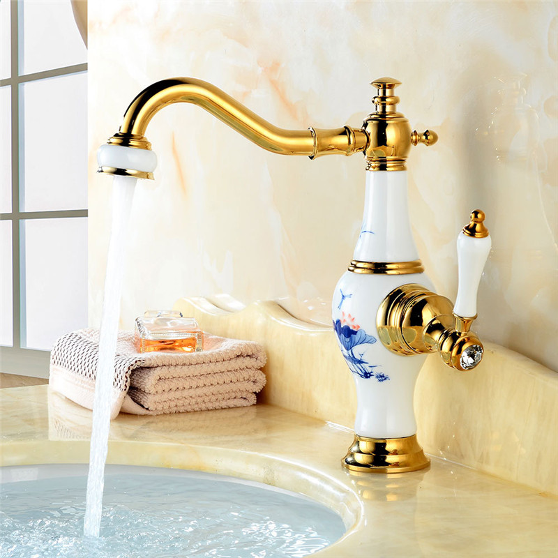 цена на Bathroom Basin Faucet Golden and Ceramic Brass Sink Mixer Tap Deck Mounted Water Tap Hot Cold Crane Unique design Tap Torneira