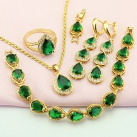 WPAITKYS Water Drop Green Stone Gold Plated Jewelry Set For Women Party Jewellery Earrings Pendant Ring