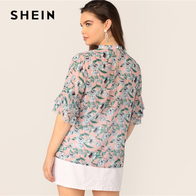 SHEIN Plus Size V-Cut Choker Floral Print Butterfly Sleeve Top Blouse 2019 Women Summer Casual Keyhole Half Sleeve Blouses 2