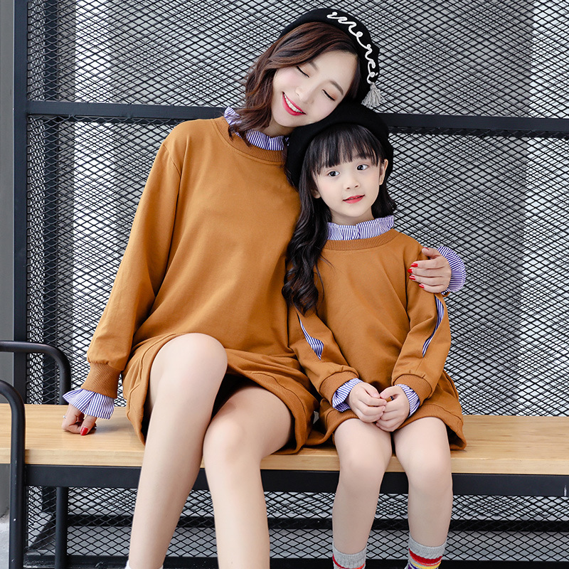 Mother Daughter Dresses Family Matching Outfits Long sleeve Family Look Matching Clothes Mom And Daughter Dress Drop Shipping matching mother and daughter dress sleeveless stripe mother daughter clothes family matching look mom and daughter summer dress