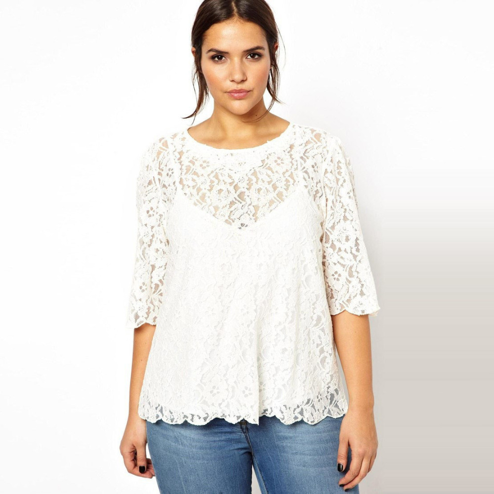 Sleeve Lace Tops T Shirts Womens Size 3xl 6xl Summer Style 5xl
