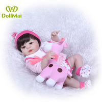 57cm Full silicone reborn baby girl dolls with giraffe Pacifier realista Bebes reborn menina boneca for child gift bb reborn