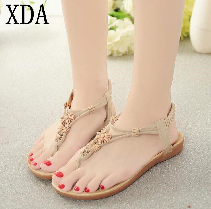 XDA 2018 new Women Fashion Sandals Elegant flats sandals woman shoes summer  Bohemia style weaving beach flats sandals F62 phyanic summer style shoes woman 2017 new gladiator sandals platform flats fashion creepers women flat shoes 3 colors phy4044