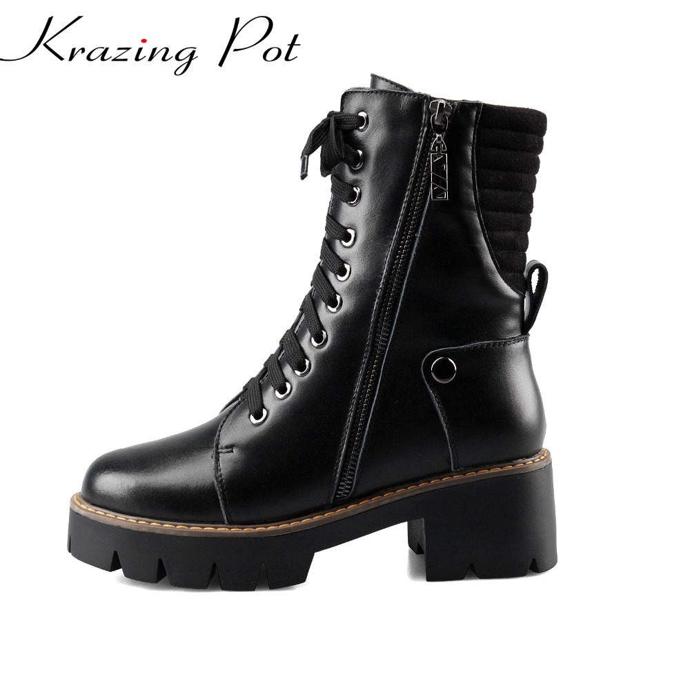 Krazing pot brand winter shoes round toe women mid-calf boots genuine leather warm office lady square heel platform boots L1f9 double buckle cross straps mid calf boots