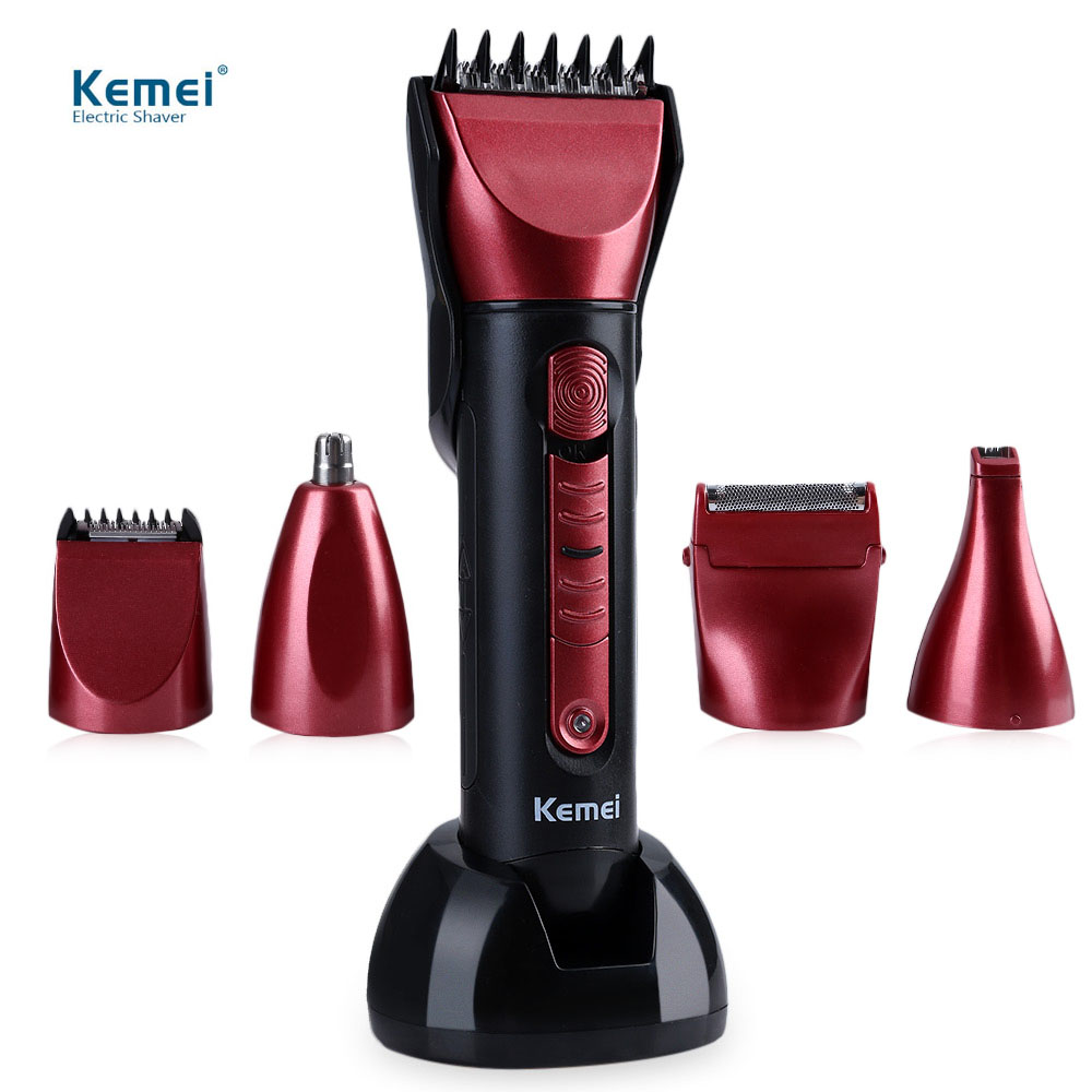 Kemei KM - 8058 Barber Professional Washable Multi-functional Electric Hair Clipper Washable Shaver with Scissors Comb kemei km 604b portable dry dual use electric shaver barber fader hair care