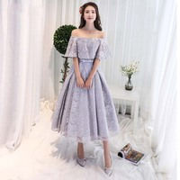 Off the Shoulder Short Sleeves Tea Length Lace Evening Gown Formal Party robe de soiree