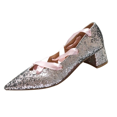 Chaussures Femmes De as Rubans Pompes Tie Pointu Épais Pic Glitter Robe Talons Bling Dames As Pic Bout Crossed Zapatos Printemps Mariage Paillettes OdP5wRxd
