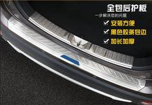 цена на Stainless Steel Rear Bumper Protector Sill Trunk Tread Plate Trim Fit For Mitsubishi Outlander 2016 with blue or black Logo