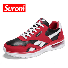 SUROM Fashion Outdoor Sneakers Men's Pu Leather Male Casual Shoes Lace Up High Quality Sapato Masculino Comfortable Krasovki