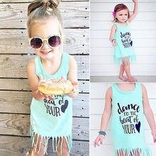 summer dress 2016 baby dress 0-6Y toddler Girls vogue tassels party sleeveless cotton dress