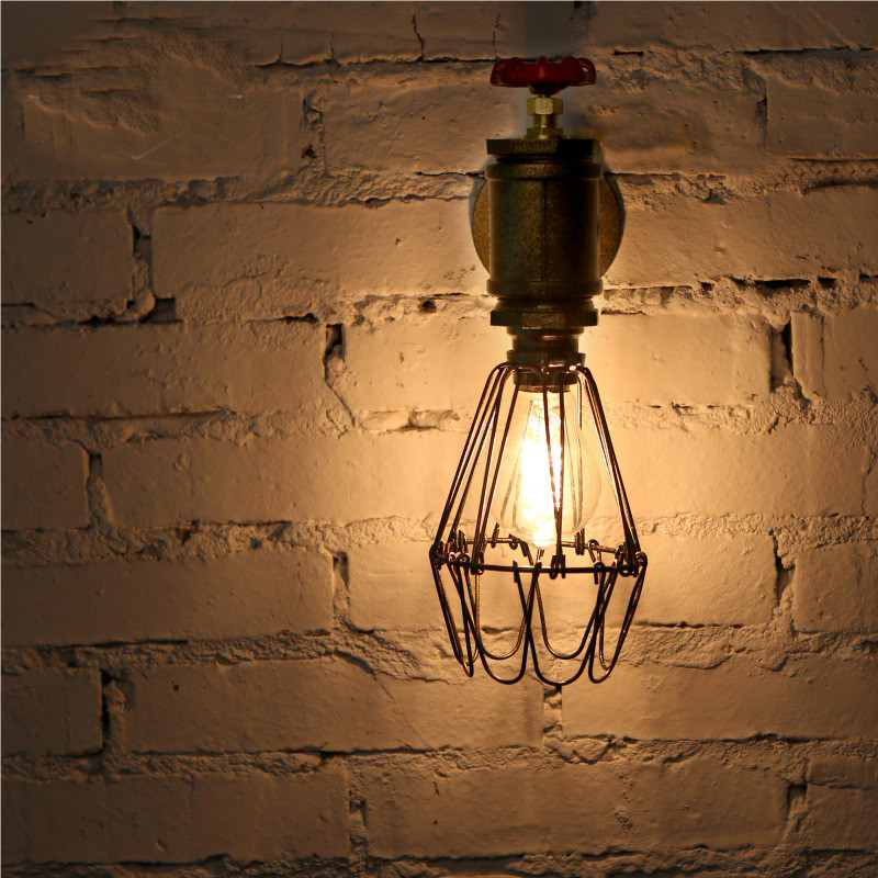 Industrial Loft Iron Cage Water Pipe Lamp Edison Wall Sconce Vintage Wall Light Fixtures For Home Lighting loft style edison decorative wall sconce mirror wall light fixtures vintage industrial lighting wall lamp for home lampara
