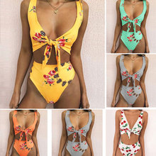 7c198094318ca 2018 Amazon suit popular European and American swimsuit bow tie print high-waisted  bikini swimsuit