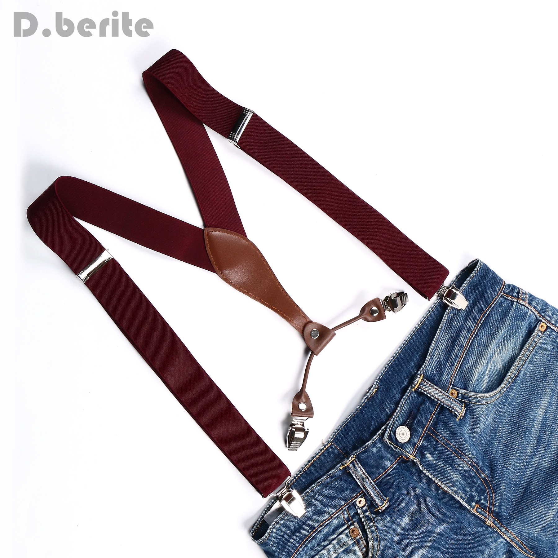 Men's Suspender Women Braces Unisex Adjustable Metal Clip-on Solid Cameo Brown BD604