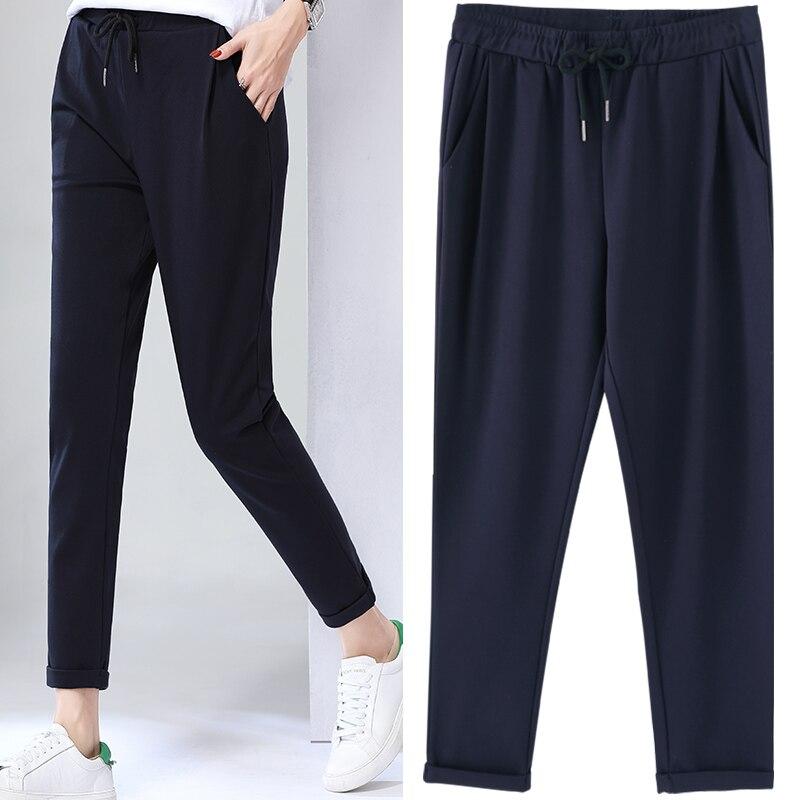 Pantalones anaranjados Nine 2018 chicas verano nuevos pantalones delgados Haren talla grande Pantalones deportivos rábano sueltos