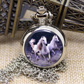 Padrão do cavalo do Vintage relógio de bolso pingente assista com colar de corrente P587