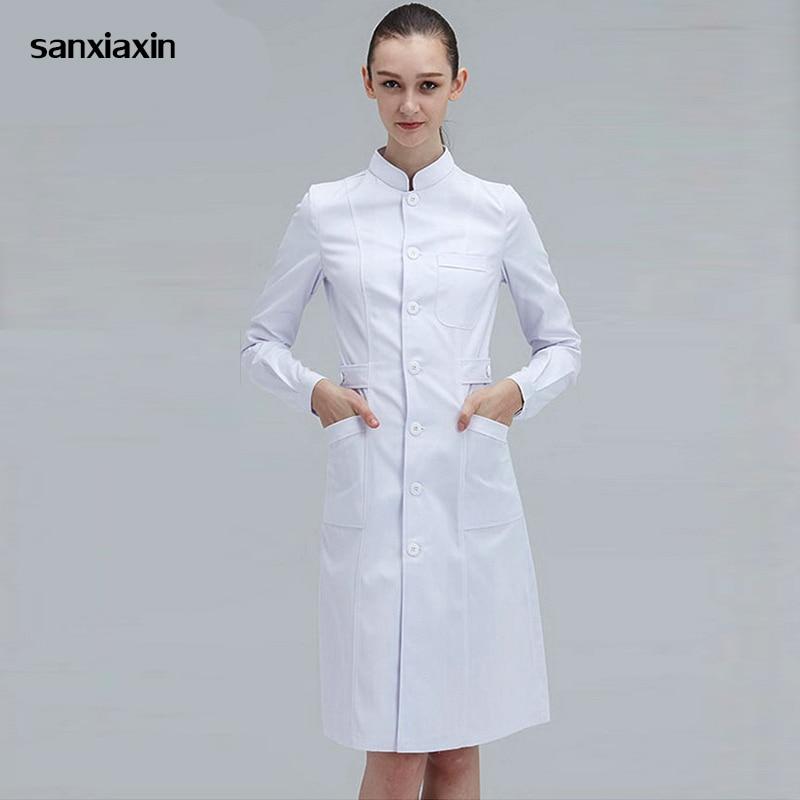 Ladies Medical Robe Medical Lab Coat Hospital Doctor Slim Multicolour Nurse Uniform Medical Gown Overalls Spa Uniform White Coat