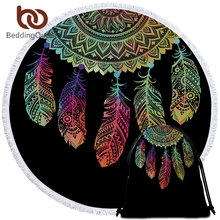 BeddingOutlet Mandala Beach Towel Colorful Dreamcatcher Round Bath Towel With Tassel Toalla Sunblock Blanket Beach Mat Dropship(China)