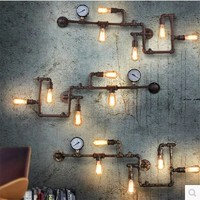 Retro Loft Industrial Edison Pipe Vintage Wall Lamp With 5 Lights, Wall Sconce Metal Frame Factory Feature Free Shipping