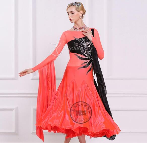 customize orange rhinestone embroidery flower long sleeve Fox trot Waltz tango  salsa competition ballroom dance dress f9b3c493f4f0