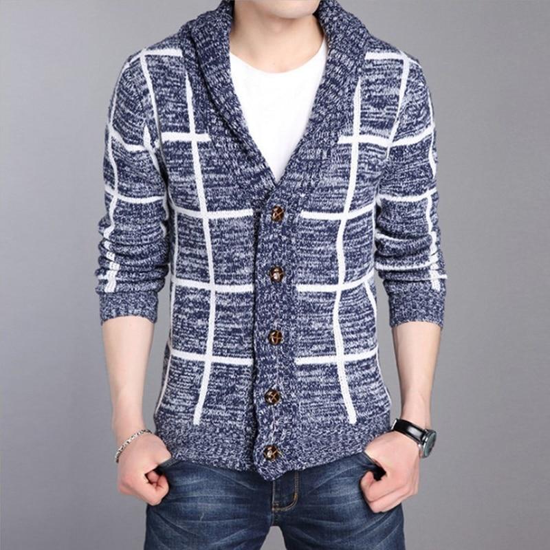 Autumn Winter Cardigan Men 2016 V Neck Long Sleeve Sweater Men Cardigans Slim Cashmere Striped Knitted Mens Sweaters mz335 cardigan