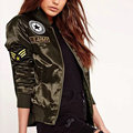 2016 Hot Sale Autumn Winter Ladies Flight Bomber Jackets Women Casual Short Thick Coat Ourterwear Army Green Embroidered Patch