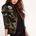 2016 Venta Caliente Otoño Invierno de Las Señoras Vuelo Cazadoras de Mujeres Casual Capa Corta Gruesa Ourterwear Remiendo Bordado Verde Del Ejército