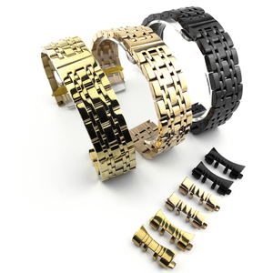 Image 3 - מעוקל סוף 7 חרוזים נירוסטה רצועת השעון מתאים עבור Samsung Tissot שעון Band רצועת צמיד 12mm 24mm פרפר אבזם