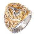 Men's Gold Plating Mason Signet Ring /Stainless Steel Freemason Masonic band Rings,fashion brand jewelry