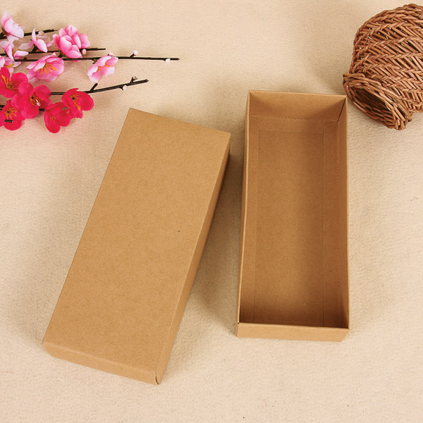 Retail 10Pcs/Lot 22*11.2+3.5cm Kraft Paper Retro Paper Pack Box With Lid DIY Soap Gift Ornaments Jewelry Kraft Paper Pack Boxes