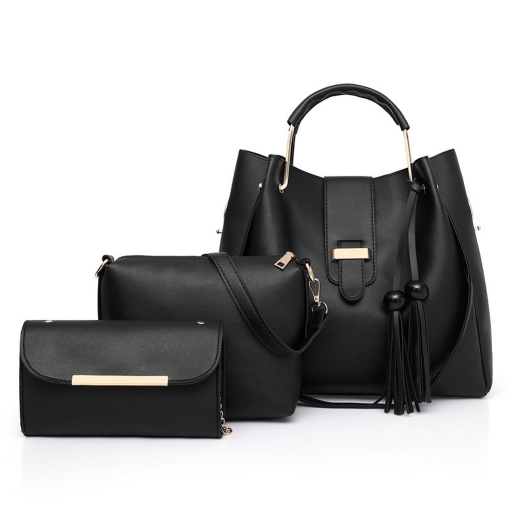 Womens PU Leather Travel Bag (Pack Of 3)Handle Cross-Body Luggage Clutch Tote Satchel Organizer Purses Set