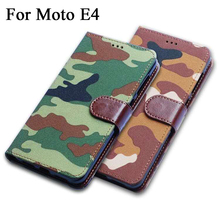 Army Camouflage Leather Phone Case for Motorola Moto E4 Europe Versions Flip Wallet Cover coque fundas
