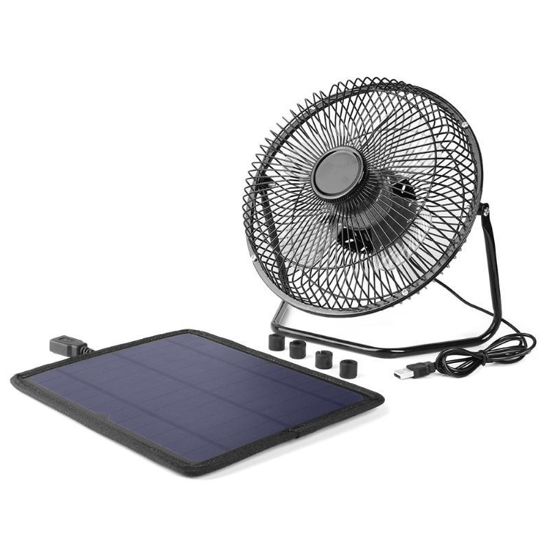Ventilateur de Ventilation solaire de refroidissement d'usb de 8 pouces + banque d'alimentation de chargeur de panneau solaire de 5.5 W