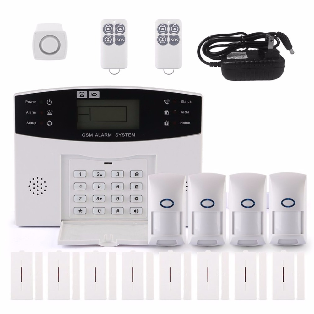 GSM Alarm LCD 433MHz Voice Auto Dialer Wireless GSM Home Alarm System for Home Office Security Burglar Alarm For Android For IOS new 433mhz wireless door window sensor for gsm pstn home alarm system home security voice burglar smart alarm system