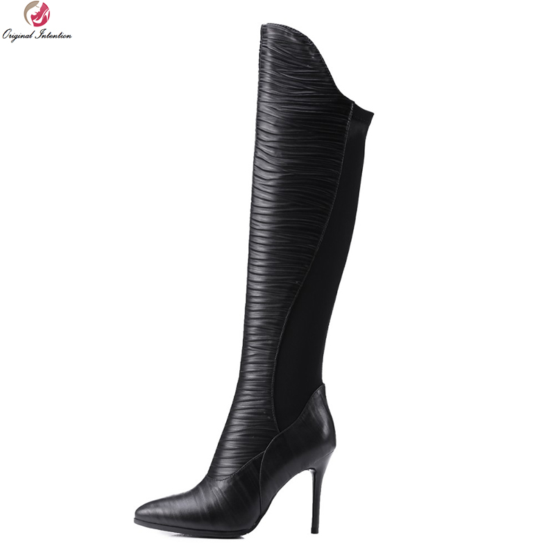 Original Intention Women Over Knee Boots Pleated Pointed Toe Thin Heels Boots High-quality Black Shoes Woman US Size 4-10.5 original intention high quality women knee high boots nice pointed toe thin heels boots popular black shoes woman us size 4 10 5