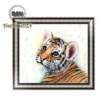 FineTime 5D DIY Diamond Painting Tiger Partial Drill Animal Diamond Embroidery Cross Stitch Mosaic Painting finetime white tiger 5d diy diamond painting partial drill diamond embroidery cross stitch animal mosaic painting