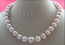 "fast 17"" Genuine Natural 11-15mm Purple pearl Necklace 925silver clasps"