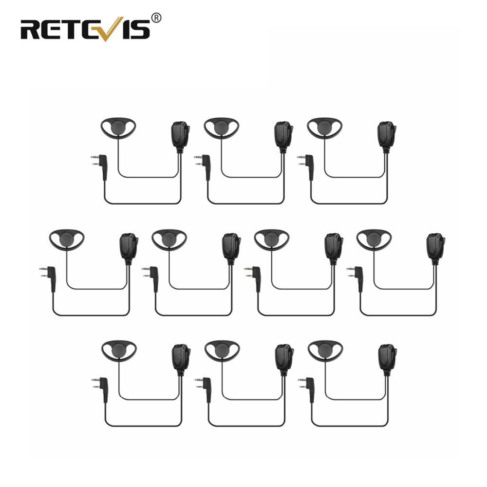 10 Pcs D-type Earhook Earpiece Walkie Talkie Headset PTT For Retevis H777/RT22 For TYT For Kenwood Baofeng UV-5R UV82 GT-3 Radio