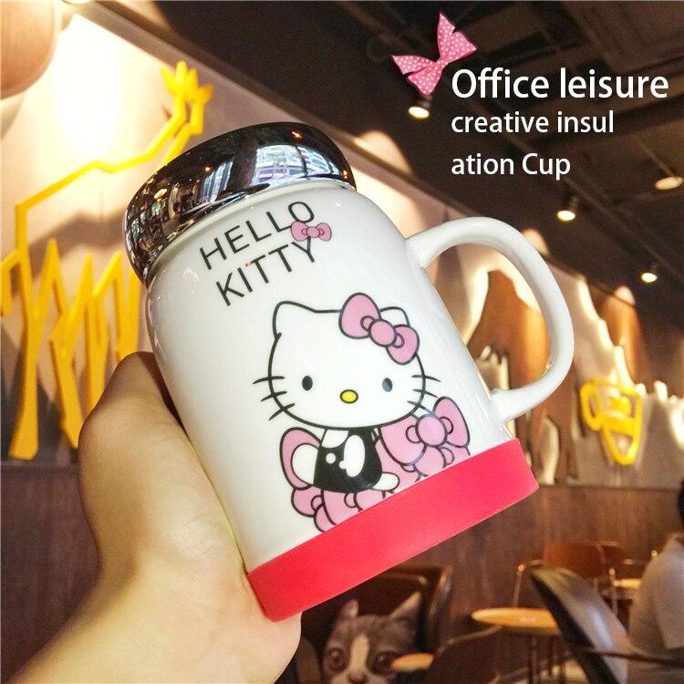 Super Kawaii Hello Kitty Mug with Mirror Lid Anime Ceramic Coffee Tea Mug for Girl Maid