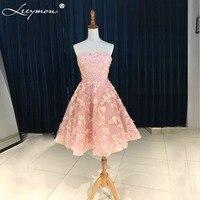 Прекрасный розовый короткий Коктейльные платья 2018 ручной работы 3D Кружево аппликации из бисера Вечерние Платье трапециевидной формы без б