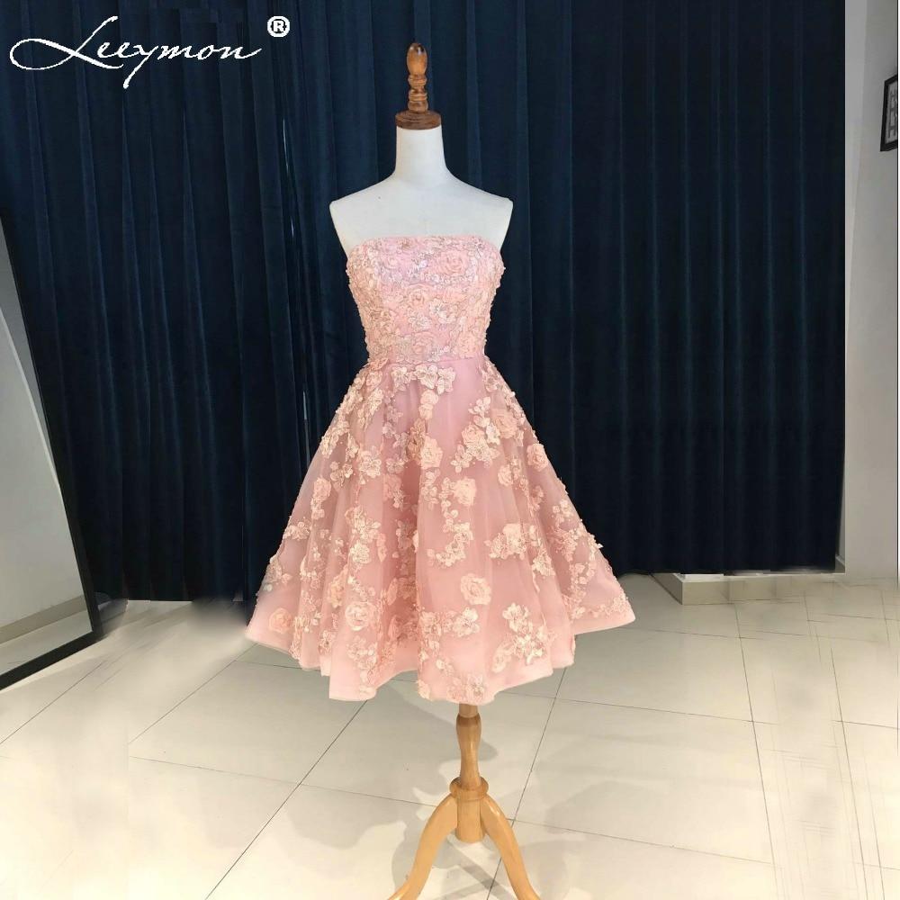 Lovely Pink Short Cocktail Klänningar 2018 Handgjorda 3D Spets Appliques Beaded Party Dress A-Line Strapless Prom Dresser WDZ-102