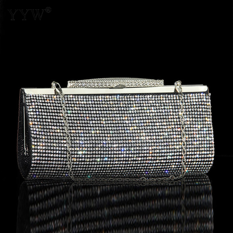 Diamond Silver Clutches Long hand Bag Gold Ladies Rhinestone Evening Bag Chain Shoulder Bag Party Banquet Evening Clutch Bags crystal rhinestone bag gold evening bag women small banquet bag diamond clutch purse chain shoulder bag bridal handbag clutches