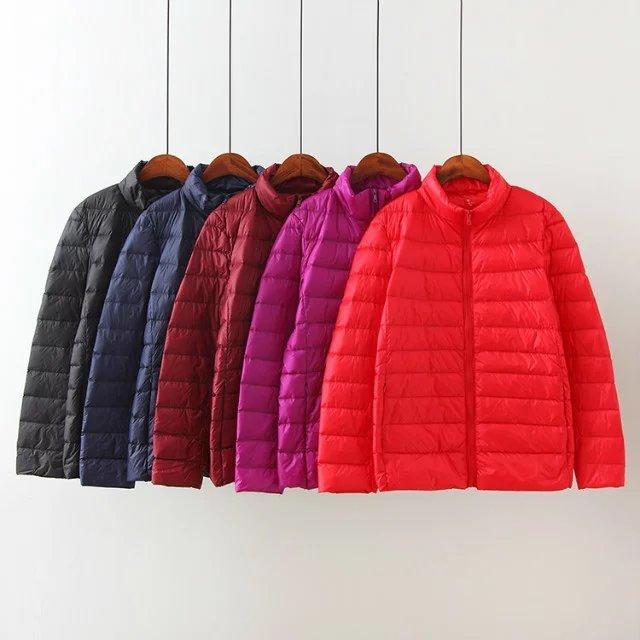 XL para 5XL 90% pato branco Ultra leve para baixo casaco 2017 médio inverno gola fino casaco outerwear Parkas Cardigan plus size