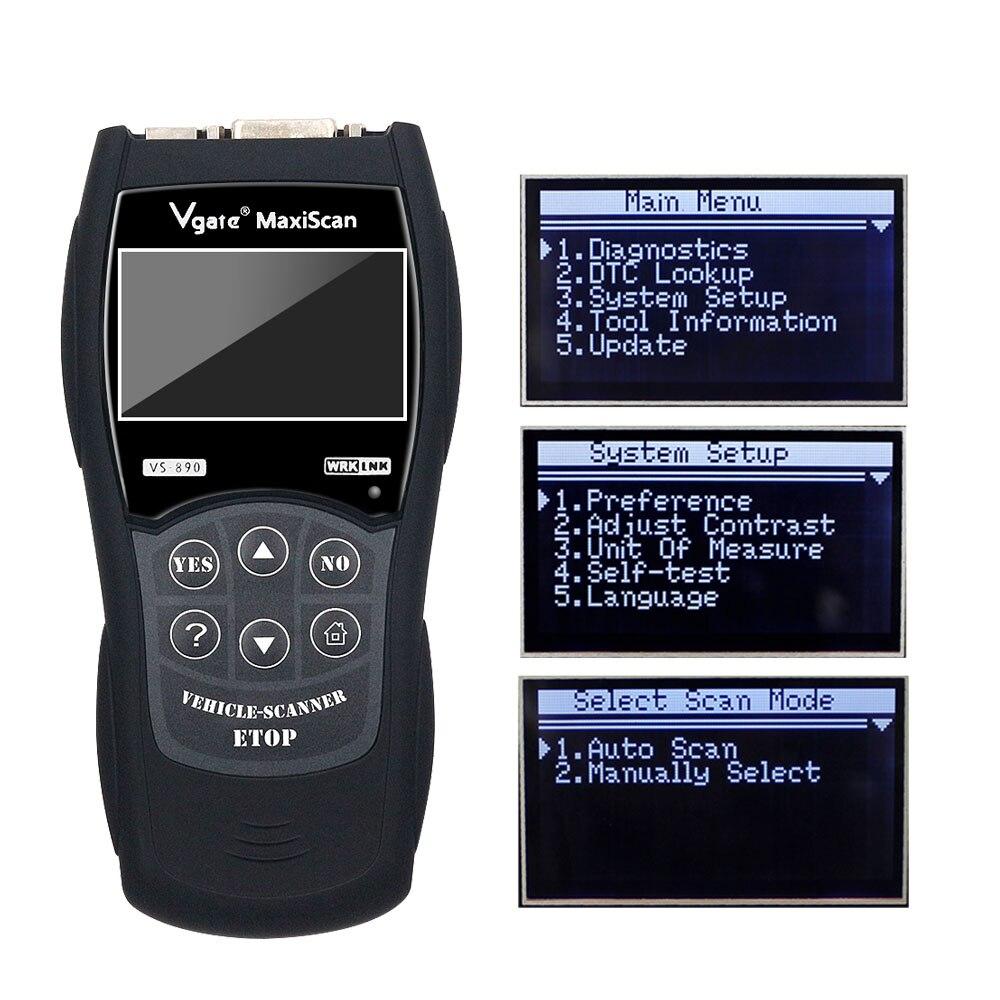 VGATE VS890 OBD2 считыватель кодов универсальный сканер OBDII Многоязычный и автомобильный диагностический инструмент Vgate VS 890 Бесплатная доставка