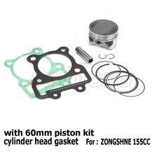 Zongshen kit de pistão 60mm 155z, cilindro com cabeça junta para kayo 150 155 160cc bicicletas de cabine de sujeira frete grátis
