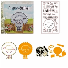 4x8in Happy Sheep Stamp Match Metal Cutting Die Stencil For DIY Scrapbooking Decorative Embossing Handcraft Die Cutting Template