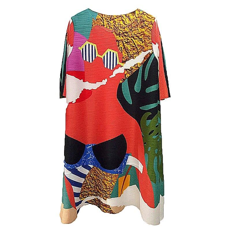 Changpleat 2019 primavera nuevas camisetas estampadas para mujeres Miyak plisado moda cuello redondo suelto tamaño grande mujer Camiseta larga Tide T9 - 6