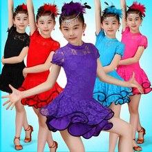 Girls Long sleeve dance dress children s competition skating dresses Salsa tango dancing dress standard ballroom