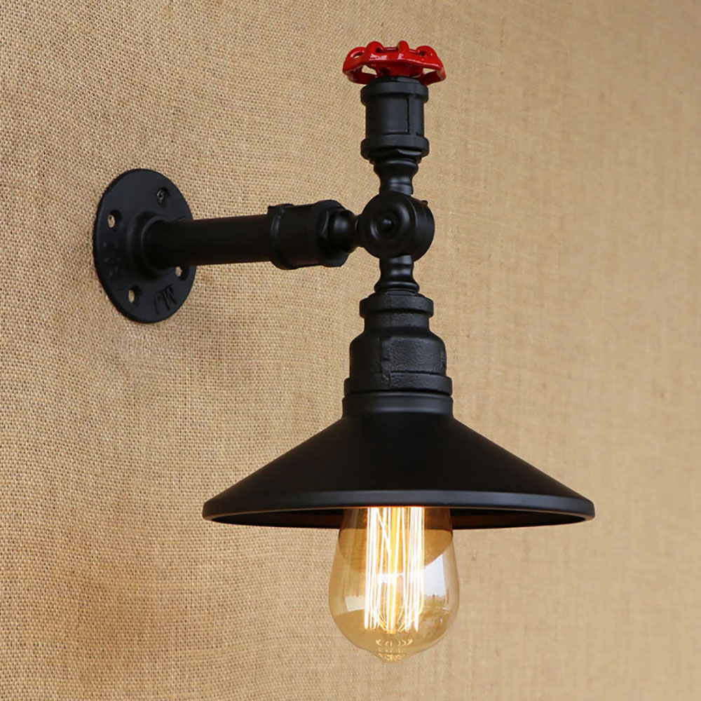 4 color Art deco black iron vintage Water pipe bedside wall lamps with led/edison e27 sconce light for cafe loft bar living room 2 lights retro black metal vintage water pipe bedside wall lamps with led edison e27 lights for loft bar bedroom living room