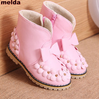 2017 New Fashion Children Winter Shoes For Girls Boots Kids Winter Boots For Girls Butterfly Knot